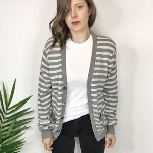 J. CREW cotton cashmere striped cardigan